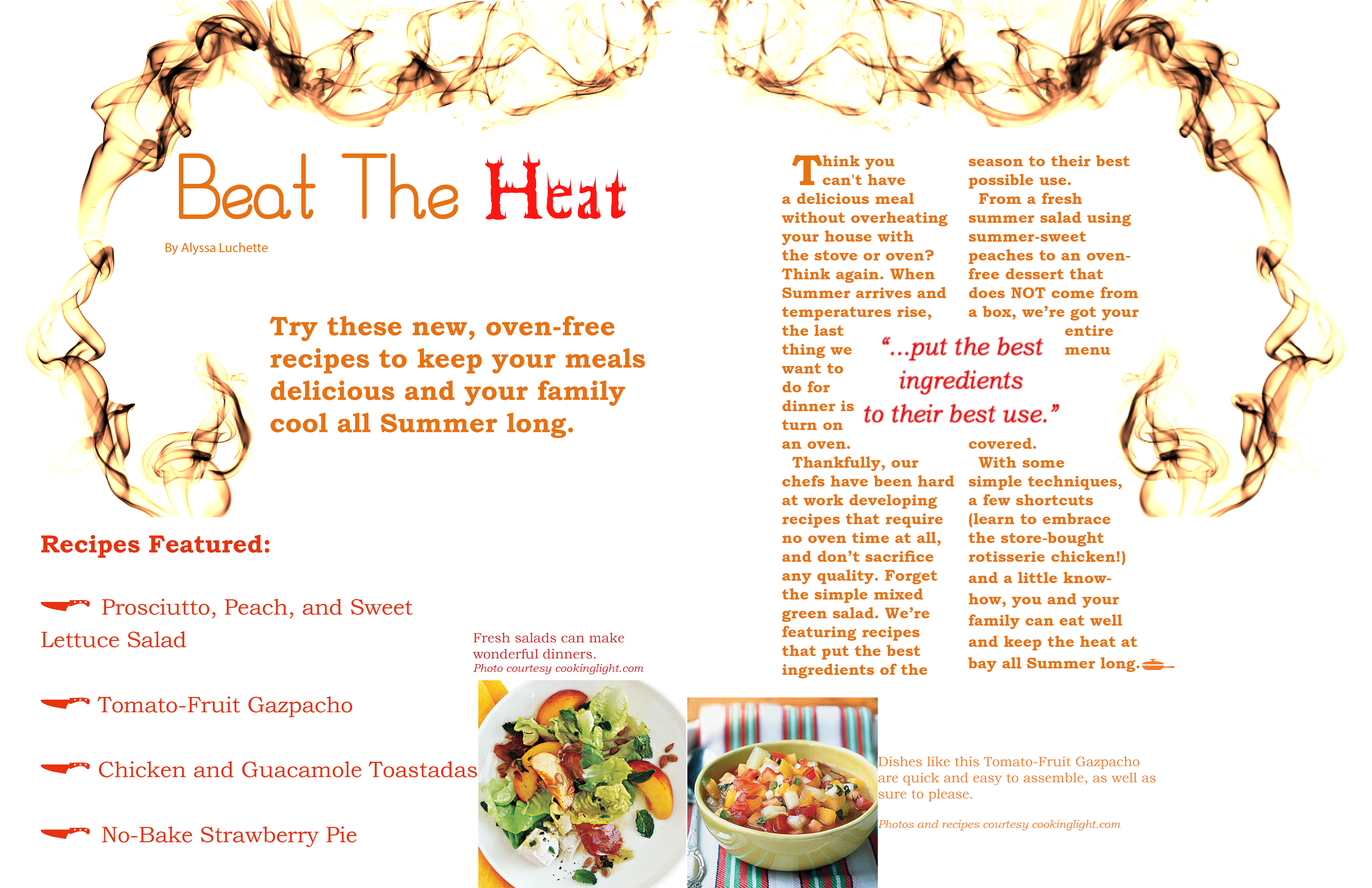 Magazine Layout Assignment: Two Page Spread Of Cooking Light Magazine